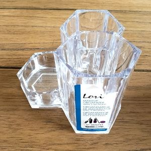 NEW 3 Section Clear Makeup Brush Holder